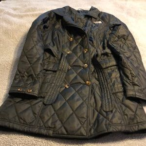 North Face black quilted zipper peacoat. Size M.